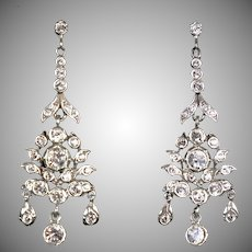 Spectacular Victorian Paste Gold & Silver Chandelier Earrings