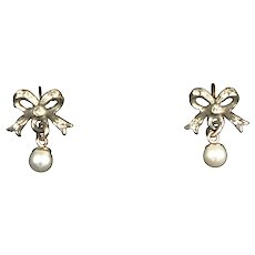 Victorian Pearl & Paste Gold Silver Bow Earrings