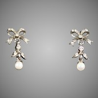 Victorian Pearl & Paste Gold & Silver Bow Earrings