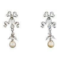 Art Nouveau Style Pearl & Paste Gold & Silver Earrings