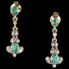 Delicate Vintage 18K Gold Emerald Diamond Drop Earrings  Sparkle & Style - Red Tag Sale Item