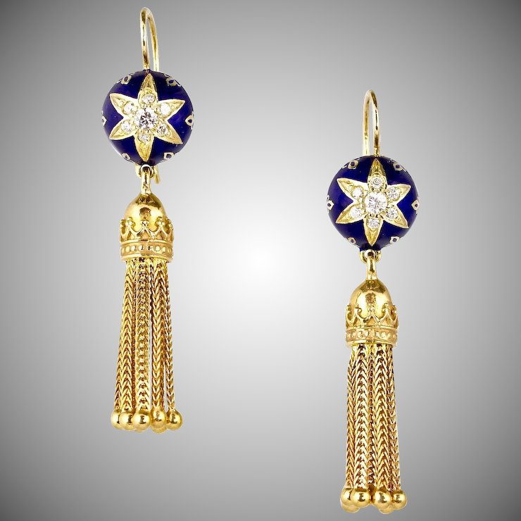 Stunning Long Victorian Style 14k Gold Diamond Tel Earrings Cobalt Blue Enamel