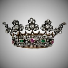 Victorian 18K Gold Diamond Ruby Emerald Crown Pin Brooch