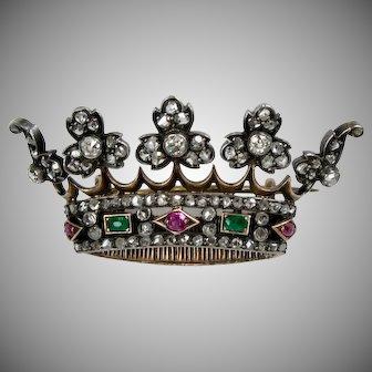Victorian 18K Gold Diamond Ruby Emerald Crown Pin Brooch