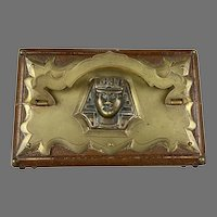 Antique Egyptian Revival Leather Double Scent Casket Box