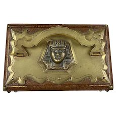 Antique Egyptian Revival Leather Double Scent Casket Box
