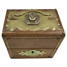 Exceptional Egyptian Revival Leather Double Scent Casket Box