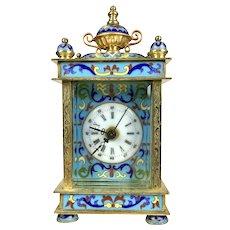 Vintage Vibrant Cloisonne Enamel Carriage Clock