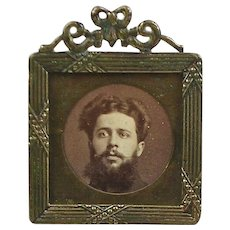 Antique Brass Mini Picture Frame  Photo Soldier Military  Beaded Xs  RARE