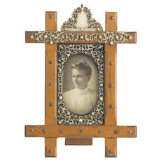 Antique Wood & Natural Material Filigree Picture Frame  Beautiful Detail  RARE