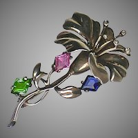 Stunning Vintage Sterling Flower Brooch Top Quality