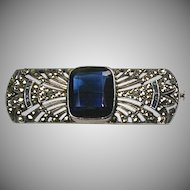 Stunning RARE French Art Deco Marcasite Pin Sterling   Blue Paste Stones   Quality