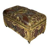 RARE Exquisite French Art Nouveau Hi Relief Ormolu Box