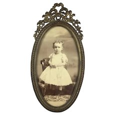 Antique French Bronze Oval Frame Adorable Baby Photo