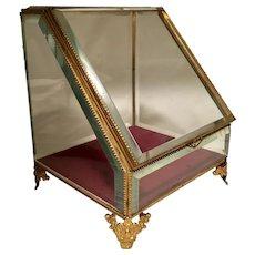 Antique Large Gilt Angled Beveled Crystal Jewel Case RARE