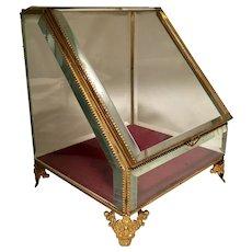 Antique Large Beveled Crystal Jewel Display Case RARE