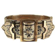 Stunning Victorian Wide 14K Gold & Enamel Buckle Bangle