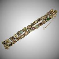 Vintage Goldette 2 Strand Slide Bracelet  Jewels  Cameos  25 Slides  Mint  RARE  Substantial