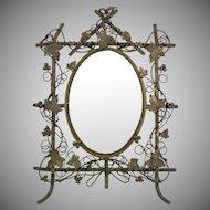Antique Beveled Mirror Grape Leaves  Nature  Figural  Wonderful Detail