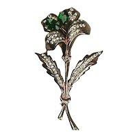 Stunning Large Vintage Sterling Flower Pin