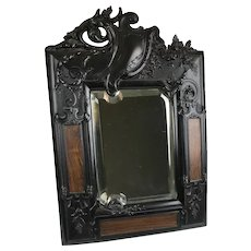 RARE Victorian French Gutta Percha Beveled Mirror