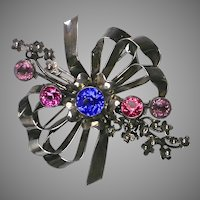 Fabulous Vintage Huge Jeweled Silver Hobe Pin Brooch