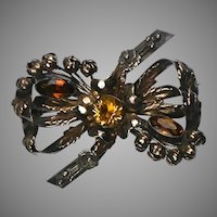 Vintage Large Hobe Silver, Gold  Jeweled Bow Pin