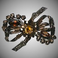 Rare & Fabulous Jeweled Signed Hobe Pin ~ Large Bow ~ Silver, Gold, Jewels