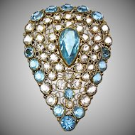 Gorgeous Vintage Vermeil Jeweled Hobe Pin  Open Backed  Aqua & White Crystals  Top Quality  RARE