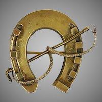 Victorian English 15K Gold Horse Shoe Crop Pin Brooch