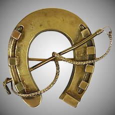 Antique English 15K Gold Horse Shoe Crop Pin Brooch   Fine Details   3D   Nice