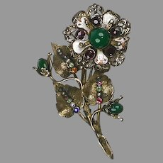 Large Antique Hungarian Genuine Stones Flower Pin Brooch