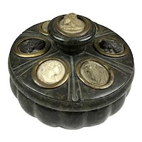 Rare Antique 19th C Lava Cameos Marble Inkwell