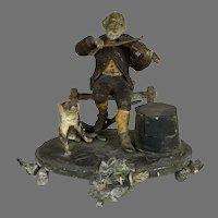Antique 19th C Figural Inkwell Man Violin Dog