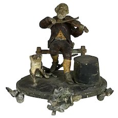 Antique 19th C Figural Inkwell Man Violin Dog