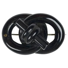 Striking Antique Victorian Whitby Jet Love Knot Brooch  Mourning Pin  Excellent Condition  RARE