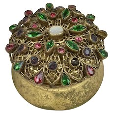 Vintage Lovely Small Round Jeweled Box