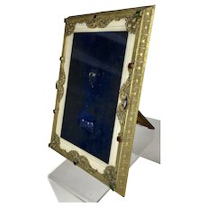 Rare Large Vintage Jeweled Picture Frame