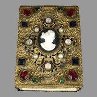 Antique Austrian Jeweled Match Box Case Holder