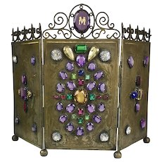 Museum Quality Rare Antique Jeweled Table Screen