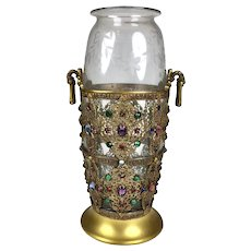 Rare Large Jeweled Engraved Glass Vase