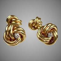 Vintage 14K Gold Double Sided Diamond Knot Cufflinks