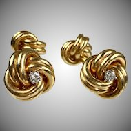 Vintage 14K Gold Double Sided Knot Cufflinks   Diamond Accents   Heavy   Top Quality