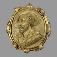 Museum Quality Victorian 18K Gold Lava Rubens Portrait Cameo Brooch