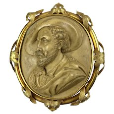 Museum Quality Lg Victorian Lava Portrait Cameo Pin of Peter Paul Rubens   18K Gold Frame  High Relief   RARE