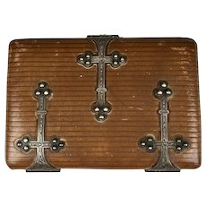 19th C French Leather & Sterling Silver Crosses Card Case Note Pad