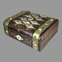 Antique English Man's Leather Fitted Jewelry Box
