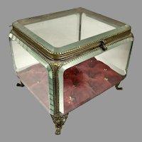 Large 19th C French Beveled Crystal Jewel Casket Box