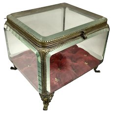 Large 19th C French Beveled Crystal Jewel Casket Box