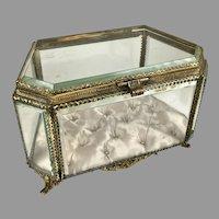 19th C French Large Gilt 6-Sided Beveled Crystal Casket Box